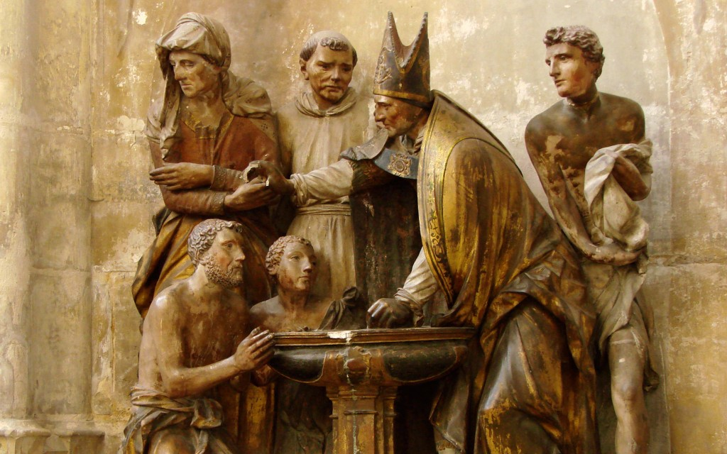 Born Again in Water and the Spirit - 2 - Statue of Ambrose Baptising Augustine