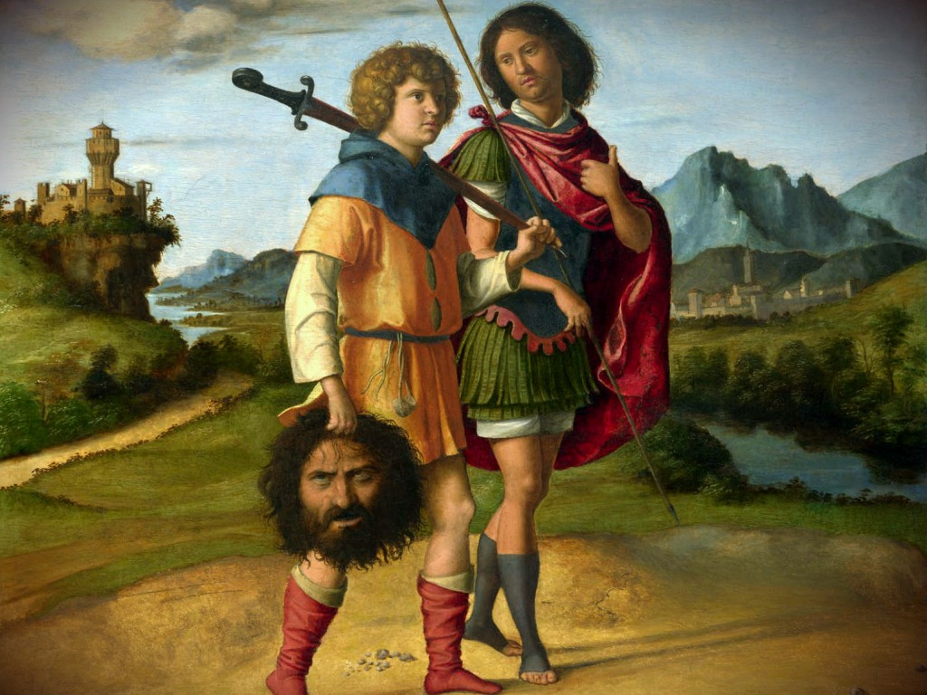 David and Jonathan Model of Spiritual Friendship - 1 - David Walking with Jonathan Holding Goliath's Head