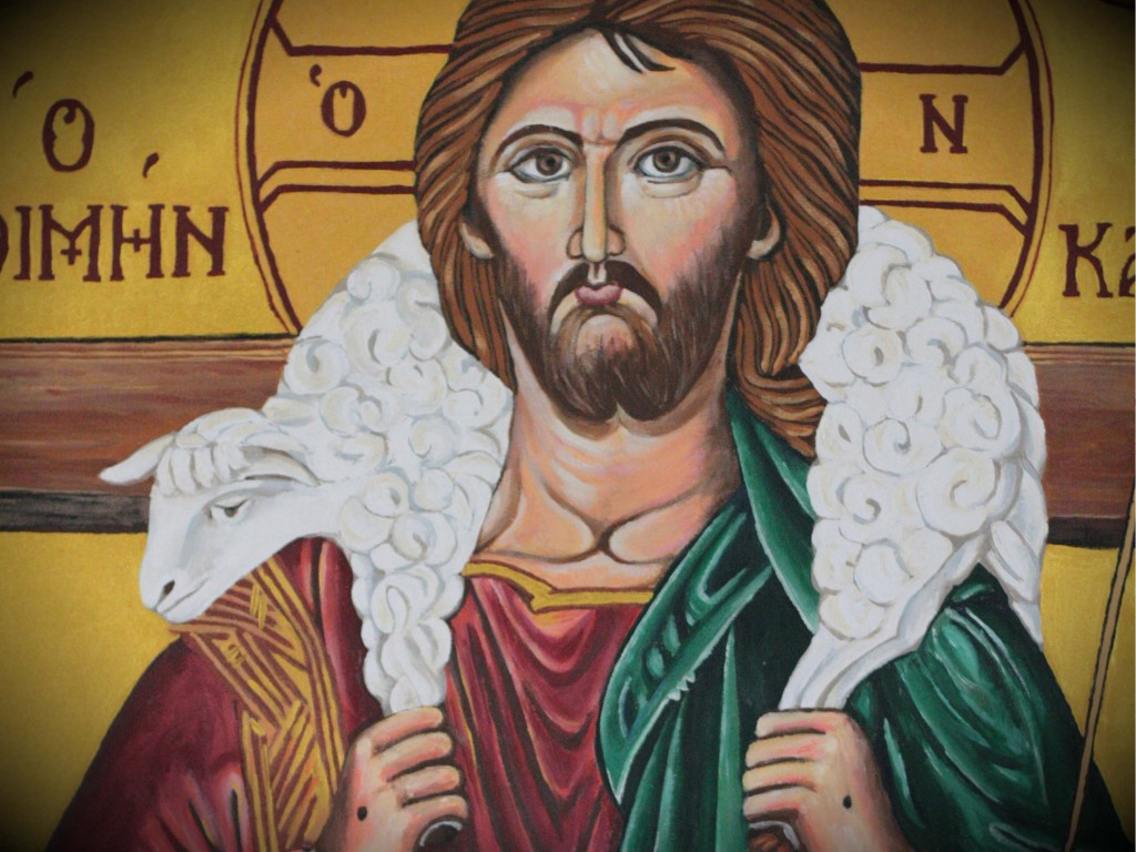Good Shepherd--Thomas Aquinas - 1 - Christ with sheep on shoulder