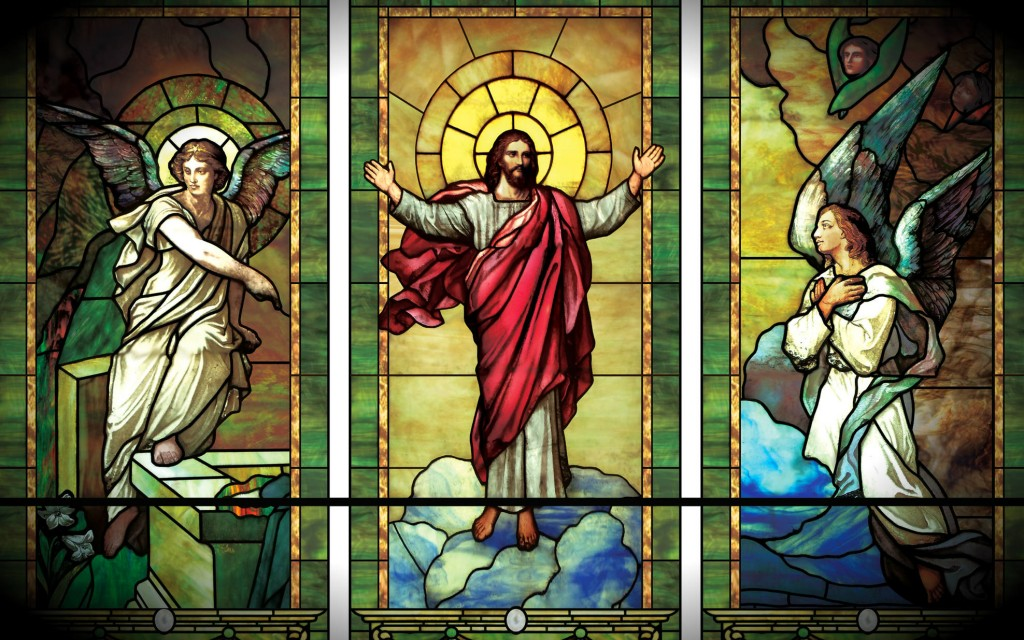 Jesus Christ as Incarnate Wisdom - Athanasius -1- Stained Glass Christ and Angels