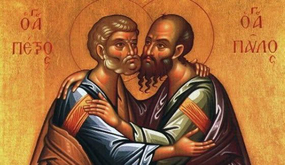 peter and paul hug icon