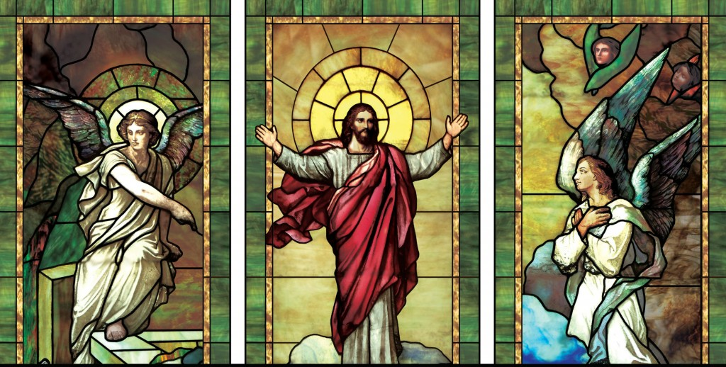 resurrected christ stainglass w