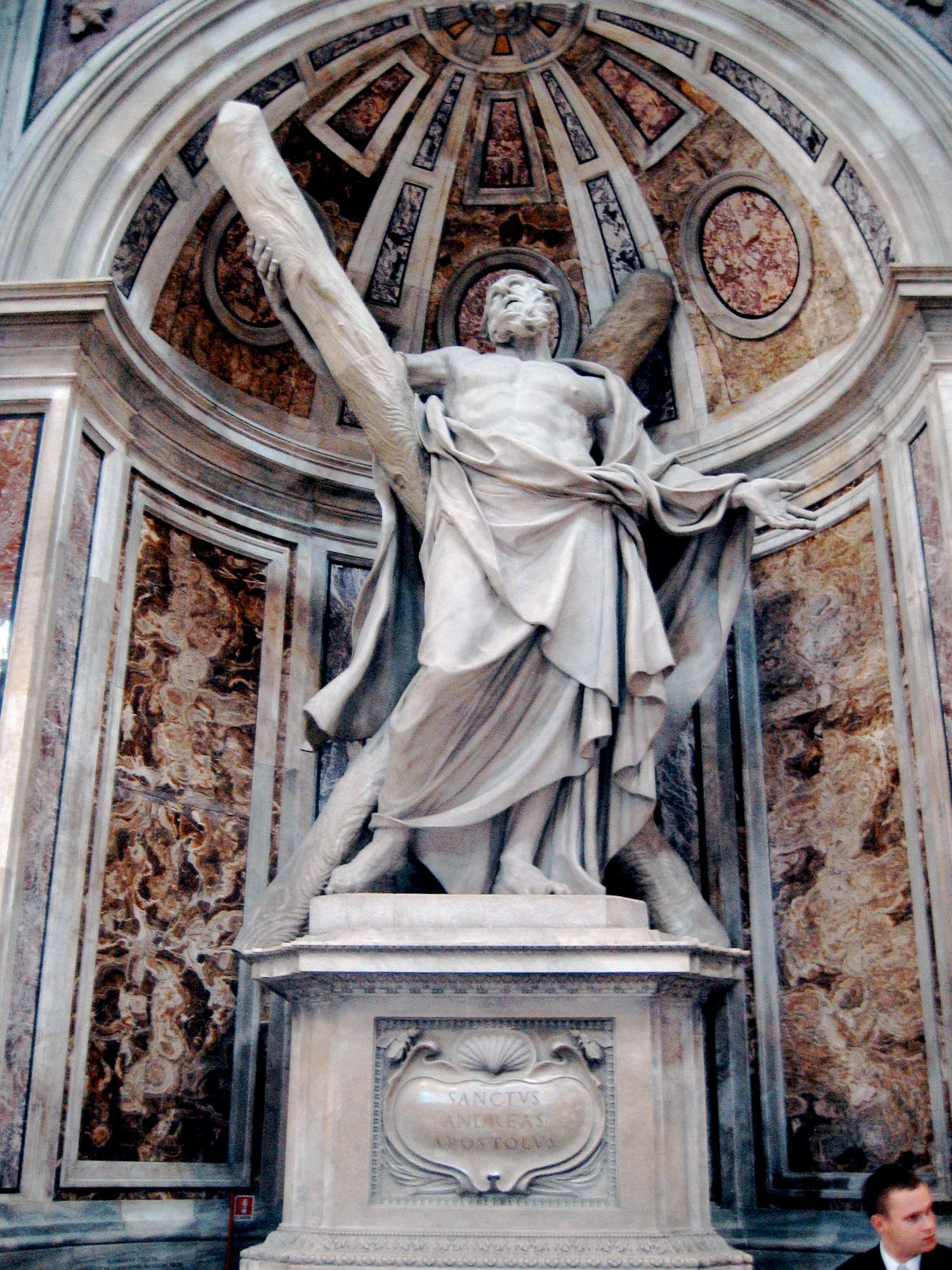 statue St. Andrew Apostle cross St. Peter's basilica rome vatican john chrysostom