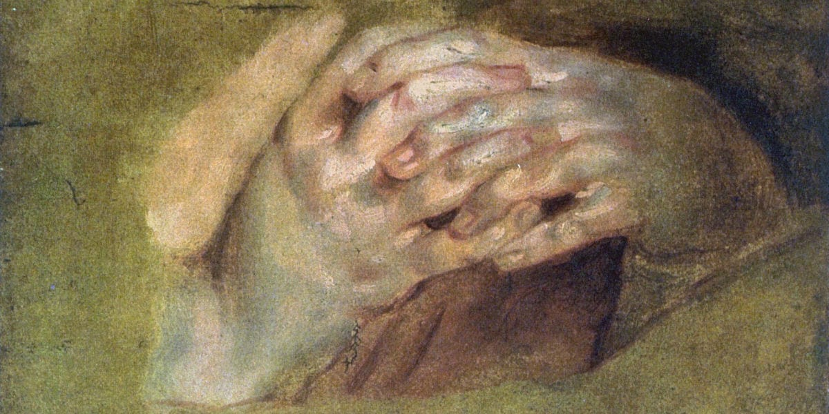 praying hands prayer St. Hilary of Poitiers January 13 defender of the Trinity divinity of Christ Peter Paul Rubens