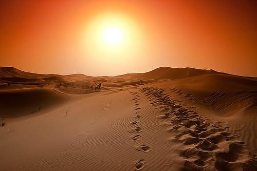 Desert sun set sunset footsteps