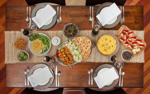 table set food thanksgiving