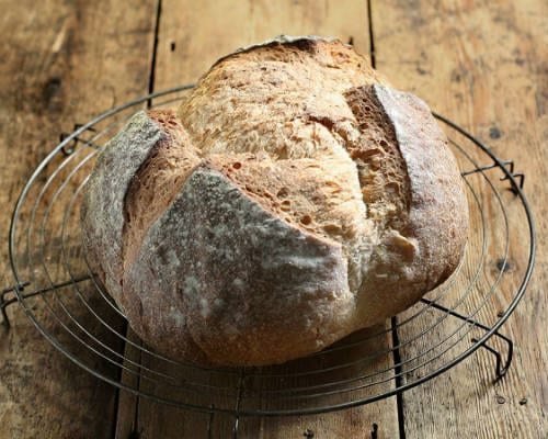 sourdough sour dough metal bread split crown