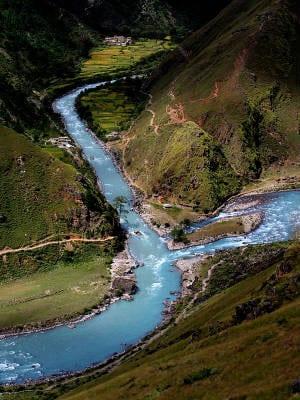 river split splitting two rivers mountain mountains hills village china nepal