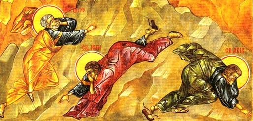 transfiguration icon crop of apostles darker