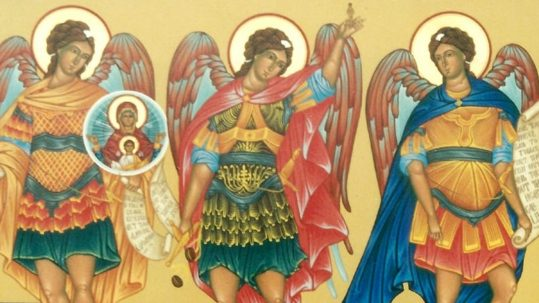 St. Gregory the Great on Archangels angels Michael, Gabriel, Raphael feast September 29