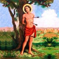 saint sebastian martyrdom arrow arrows tree tied