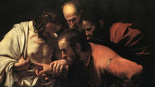 Doubting Thomas Divine Mercy Sunday faith unbelief believe Tommaso l'incredulo Divina Misericordia domenica credere fede dubitare