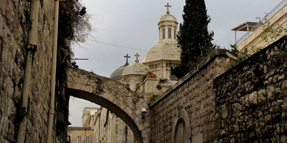 holyland alley holy land cloudy cross church crosses