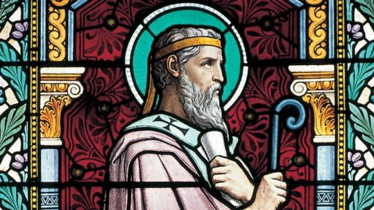 saint St. irenaeus of Lyons stained glass link to the apostles church father june 28 podcast