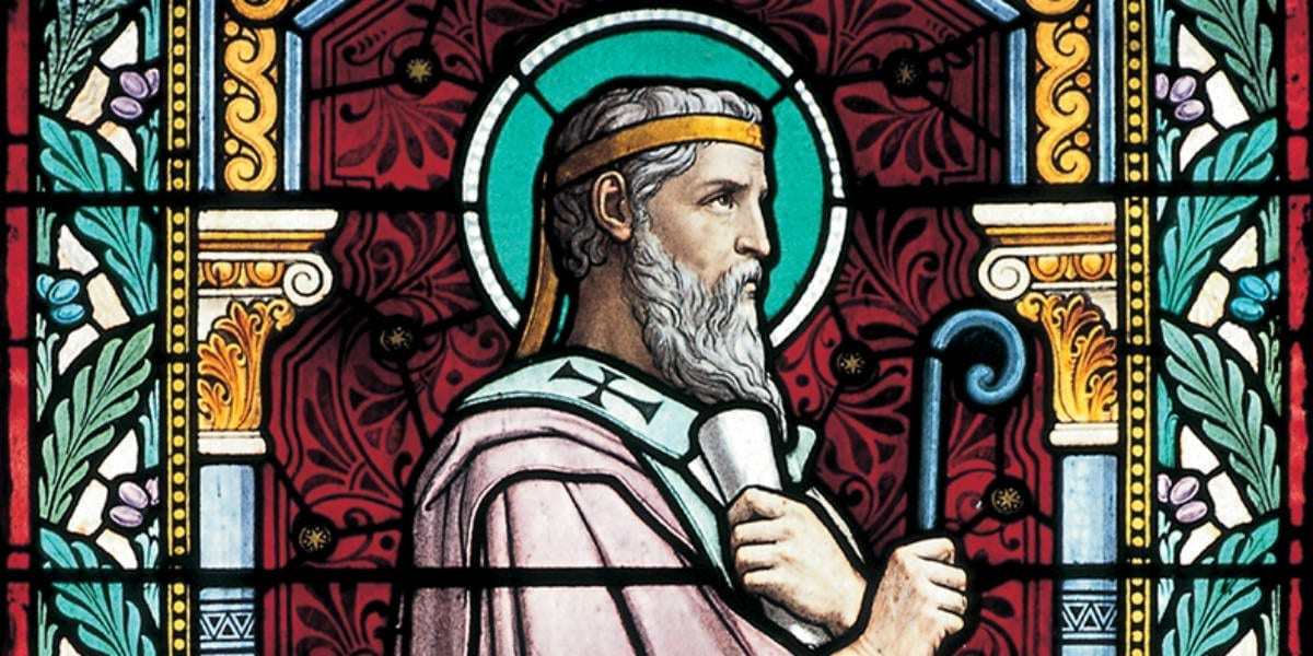 saint irenaeus of lyons stained glass link to the apostles june 28 podcast