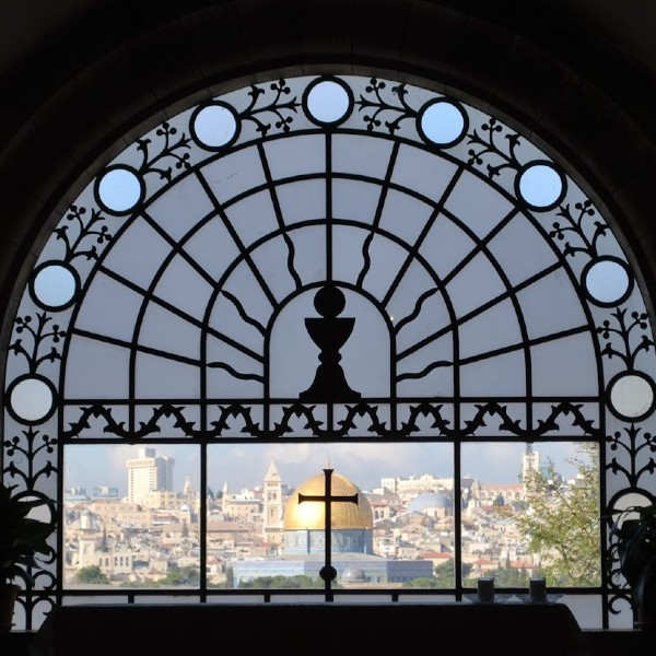 Jerusalem through a window palm sunday road dominus flevit hosanna donkey
