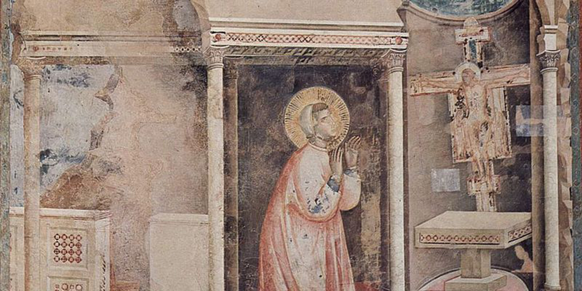 fresco Saint Francis of Assisi giotto Christ speaks through San Damiano chapel cross crucifix chapels assisi medieval town franciscan catholic pilgrimage